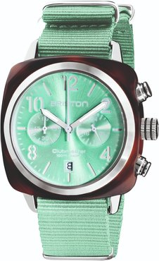 Briston Clubmaster Classic Chronograph Tortoise Shell Acetate, Sunray Green Water Dial