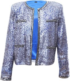 Sequins Over Mesh Jacket In Silver