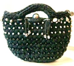 Small Shiny Noir Bag with Embroidery