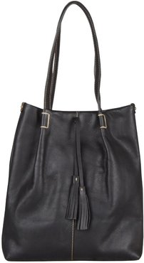 Genuine Leather Tote With Tassels In Black
