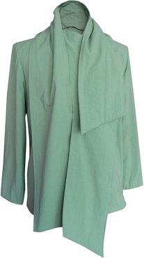 Draped Jacket In Sage Green Oxford