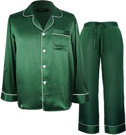 Silk Pajama Classic 2-Piece Set - Dark Green