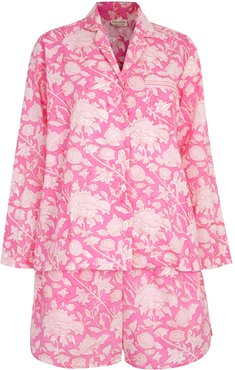 Hand Printed Shorts Pj'S - Cotton - Hibiscus Pink