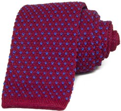 Magenta & Blue Small Dotted Linen Knitted Tie