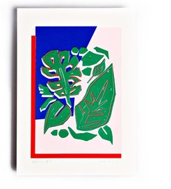 Red Blue Botanic Limited Edition Screen Print