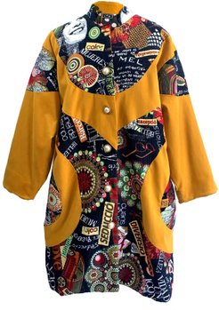 Oversized Shirt Coat In Mustard & Tapestry Patchwork