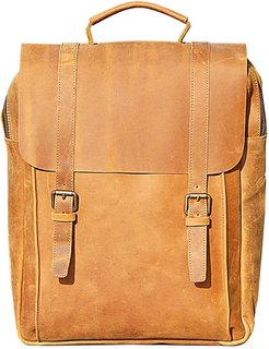 """16"""" Genuine Leather Backpack In Tannish Brown"""