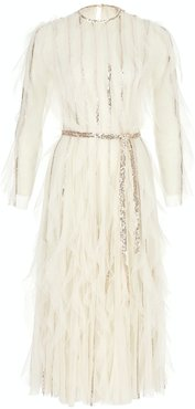 Tulle Midi Dress Paillettes Embroidered
