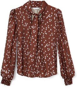 Esme Shirt With Tie Neck & Puff Sleeve In Brown Protea Bud