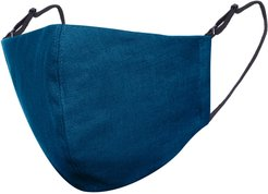Teal Blue Linen Cotton Face Mask With Filter Pocket