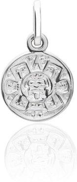 Exquisitely Detailed Aztec Calendar Charm Handmade In Sterling Silver