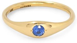 Dome Ring With Sapphire in 14K Yellow Gold