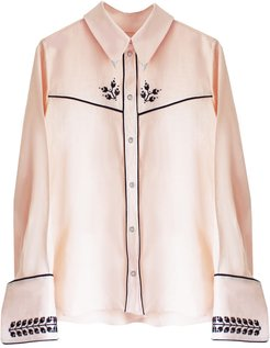 Embroidered Cowboy Shirt Pale Peach