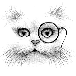 Cat Monocle Intricate Ink Print