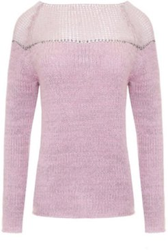 Sweater With Silver Thread Pink
