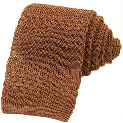 Brown Solid Textured Striped Linen Knitted Tie