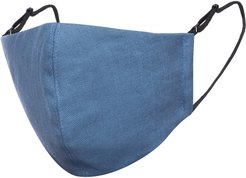 Air Force Blue Linen Cotton Face Mask With Filter Pocket
