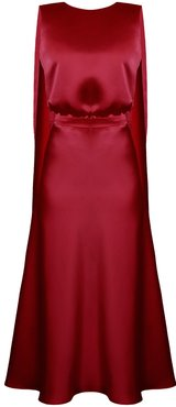 Rosa Deep Red Midi Dress With Back Ribbons