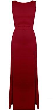 Noa Deep Red Maxi Evening Dress With Front Splits