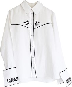 Embroidered Cowboy Shirt White