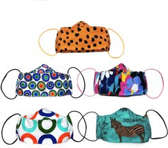 5 Pack Fun & Colorful Triple Layer Cotton Face Masks With Nose Wire Zebra