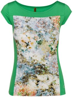 Floral Print Boat Neck Top In Green