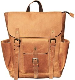 Vintage Look Leather Backpack In Tannish Brown