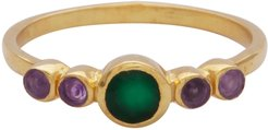 Green Onyx and Amethyst Delicate Ring
