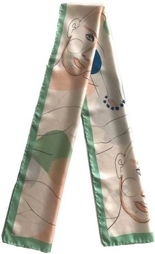 Pistachio Green Printed Artistic Silk Long Scarf
