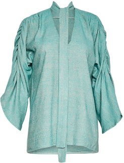Maxine Silk Linen Blouse With Neck Tie In Mint