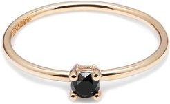 9K Yellow Gold & Black Diamond Solitaire Ring