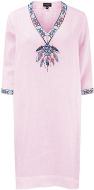 Dream Catcher Embroidered Tunicdress - Shell Pink