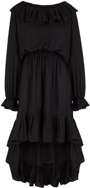 Laura Black Viscose Ruffle Dress