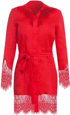 Linen Shirt Dress With Lace Trim In Red