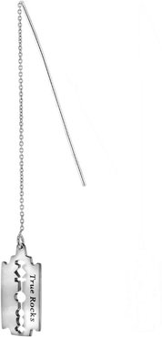 Sterling Silver Drop Chain Razor Blade Pull Through Earring