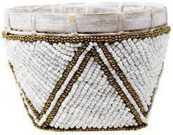 Bamboo Trinket Basket White With Gold Trim