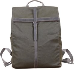 Fold-Over Waxed Canvas & Leather Backpack In Army Green