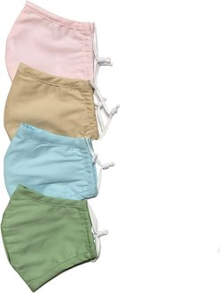4 Pack 100% Organic Cotton Face Mask (W/ Filter Pocket) - Pink/Blue/Green/Yellow