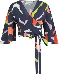 The Oriole Wrap Top Navy Print
