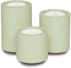 Concrete Tealight Trio Candle Holders With Soy Wax Tealights In Sage