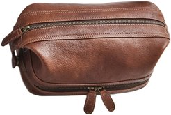 Wandering Soul Brown Leather Wash Bag With Zip Bottom