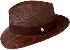 Teardrop Trilby 'Varadero' Brown Handwoven Natural Straw Panama Hat
