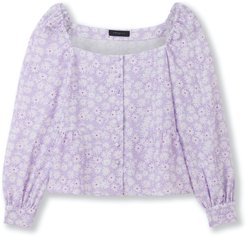 Square Neck Blouse - Wilde Lilac