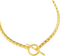 Gold Snake Chain Necklace With T Bar