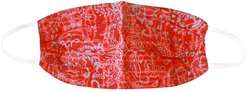 Brunna. Co - Rosetta 3-Ply Vintage Batik Pleated Face Mask In Red
