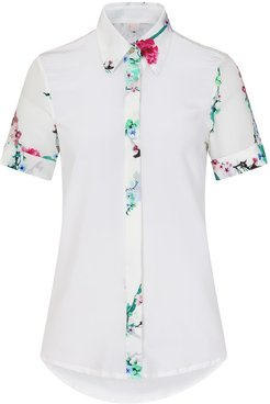 White Blossom Silk Shirt