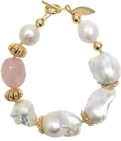Baroque Freshwater Pearls & Rose Quartz Brillant Bracelet
