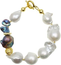 White & Purple Baroque Freshwater Pearls Bracelet