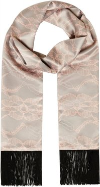 Lace Print Grey & Pink Scarf with Soft Black Fringe