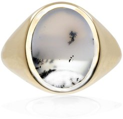 Snow Agate Vertical Signet Ring Gold